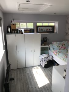 Garage conversion - Main bedroom space.